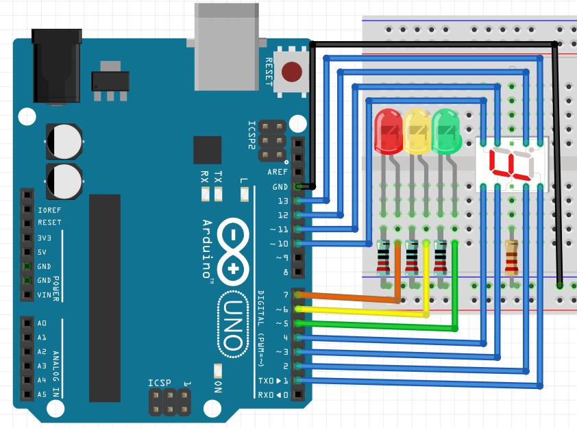 Модернизация светофора (часть 1). Программирование arduino, добавление обратного отсчета.